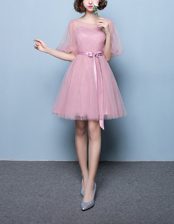 Elegant Short Satin Tulle Bridesmaid Dresses with Short Sleeves