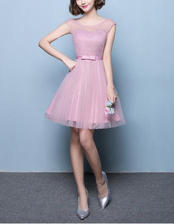 2018 Style A-Line Sleeveless Short Satin Tulle Bridesmaid Dresses