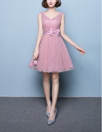 Affordable A-Line V-Neck Short Satin Tulle Bridesmaid Dress with Belt