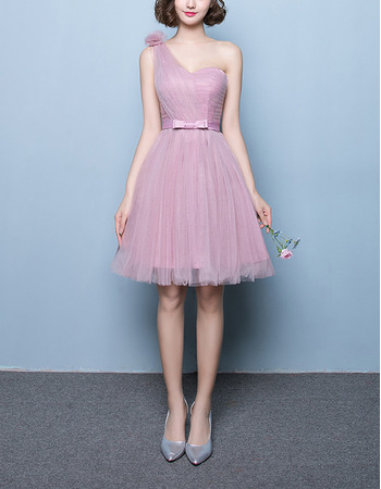 Elegant A-Line One Shoulder Short Satin Tulle Bridesmaid Dresses