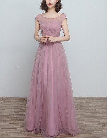 Discount Sleeveless Floor Length Satin Tulle Bridesmaid Dresses