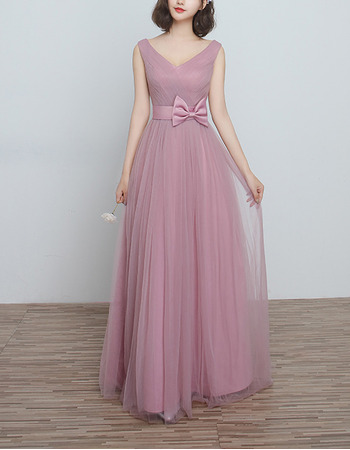 2018 New V-Neck Floor Length Satin Tulle Bridesmaid Dresses