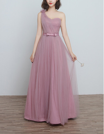 Custom One Shoulder Floor Length Satin Tulle Bridesmaid Dresses