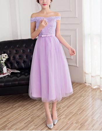 Elegant Off-the-shoulder Tea Length Lace Tulle Bridesmaid Dresses