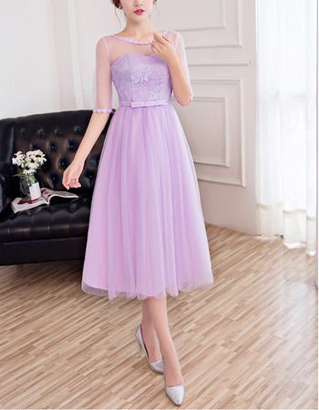 2018 New Tea Length Lace Tulle Bridesmaid Dresses with Half Sleeves
