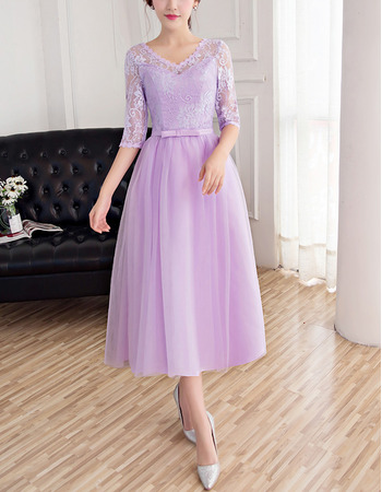 Custom V-Neck Tea Length Bridesmaid Dresses with Half Lace Sleeves