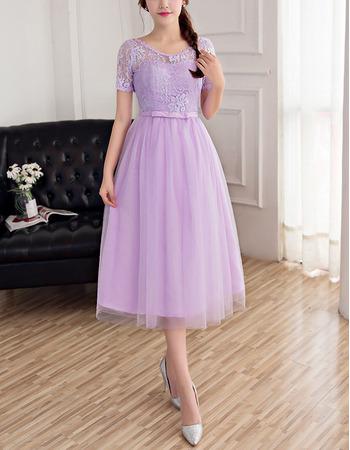 Elegant Tea Length Lace Bridesmaid Dresses with Short Sleeves