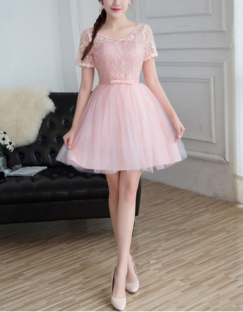 2018 New Style Mini/ Short Bridesmaid Dresses with Short Sleeves