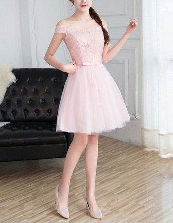 Custom Off-the-shoulder Mini/ Short Satin Tulle Lace Bridesmaid Dress