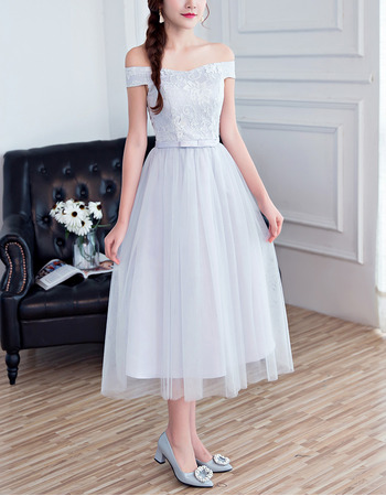 Affordable A-Line Off-the-shoulder Tea Length Bridesmaid Dresses