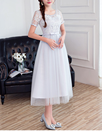 2018 New Style Tea Length Bridesmaid Dresses with Short Sleeves