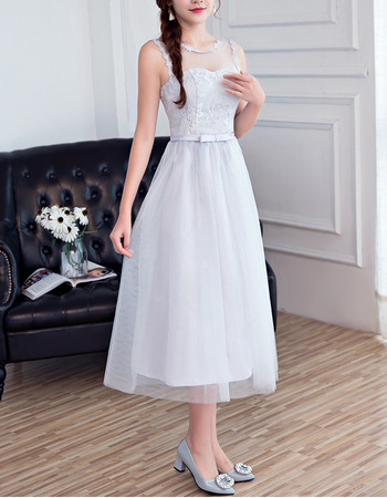 Elegant Sleeveless Tea Length Satin Tulle Bridesmaid Dresses
