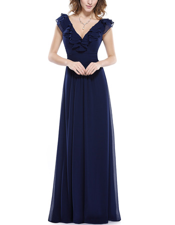 2018 Style V-Neck Sleeveless Floor Length Chiffon Bridesmaid Dresses