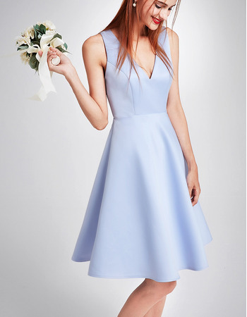Elegant V-Neck Sleeveless Mini/ Short Satin Cocktail Party Dresses