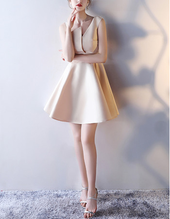 Custom A-Line Asymmetric Mini/ Short Satin Cocktail Party Dresses