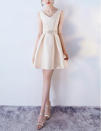 Discount V-Neck Mini/ Short Satin Beading Cocktail Party Dresses