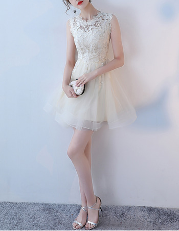 Sexy A-Line Sleeveless Mini/ Short Organza Lace Cocktail Party Dresses