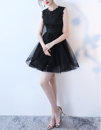 2019 New Sleeveless Mini/ Short Organza Lace Cocktail Party Dresses