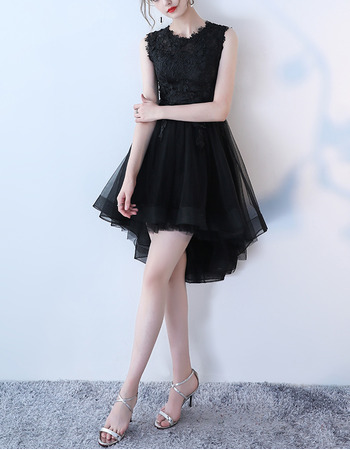Inexpensive Sleeveless High-Low Tulle Black Cocktail Party Dresses