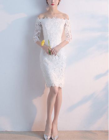 Custom Off-the-shoulder Lace Cocktail Party Dresses with Half Sleeves