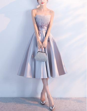 Elegant A-Line Strapless Knee Length Satin Cocktail Party Dresses