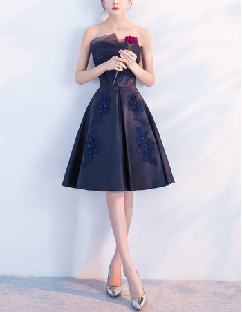 2018 New A-Line Strapless Knee Length Satin Cocktail Party Dresses