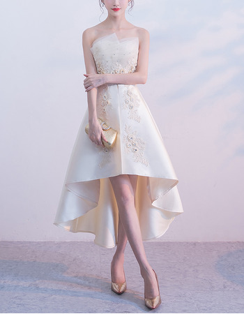 Elegant Strapless Asymmetric High-Low Satin Cocktail Party Dresses