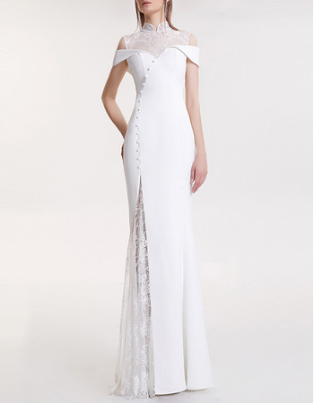 2018 Style Mandarin Collar Floor Length Satin Lace Evening Dresses