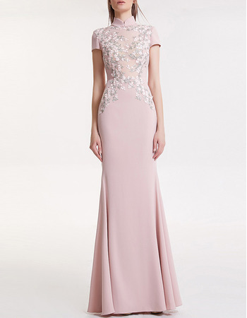 Custom Mandarin Collar Long Satin Evening Dresses with Short Sleeves