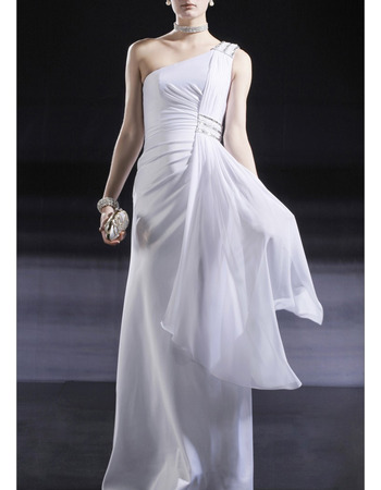Sexy One Shoulder Floor Length Chiffon Evening/ Prom Dresses