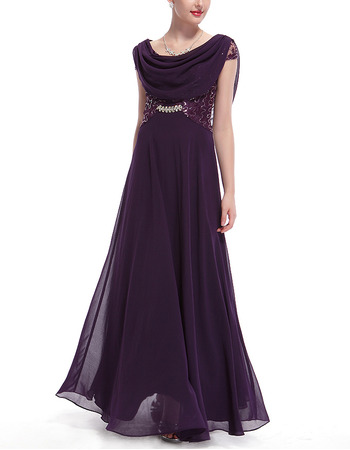 Custom Floor Length Chiffon Embroidery Evening Dresses with Wraps