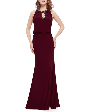 Affordable Sheath/ Column Floor Length Chiffon Evening Dresses