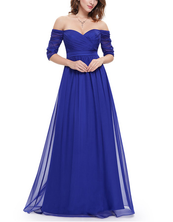 Sexy Off-the-shoulder Chiffon Evening Dresses with Half Sleeves