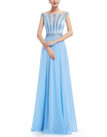 Discount Bateau Floor Length Chiffon Lace Evening/ Prom Dresses