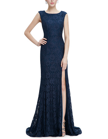 Custom Sheath Sleeveless Sweep Train Lace Slit Evening/ Prom Dresses