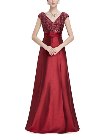 Formal V-Neck Floor Length Sequin Evening Dresses with Cap Sleeves