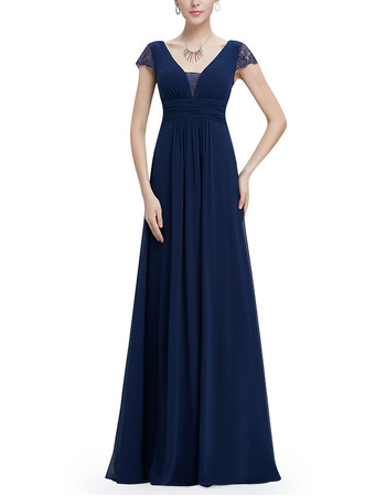 Affordable V-Neck Long Chiffon Evening Dresses with Cap Sleeves