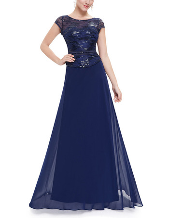 Elegant Floor Length Two-Piece Evening Dresses with Cap Sleeves