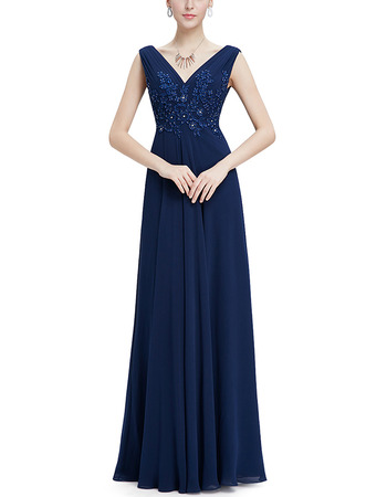 Formal V-Neck Sleeveless Floor Length Chiffon Evening Dresses