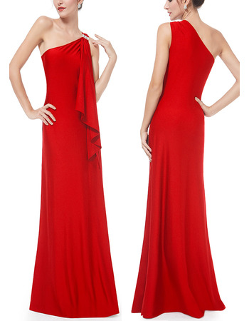 2018 New Style One Shoulder Floor Length Satin Evening Dresses