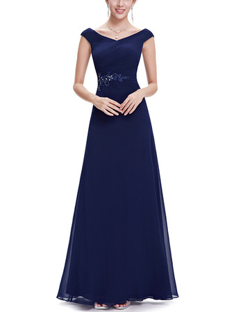 2018 New Style V-Neck Floor Length Chiffon Evening/ Prom Dresses
