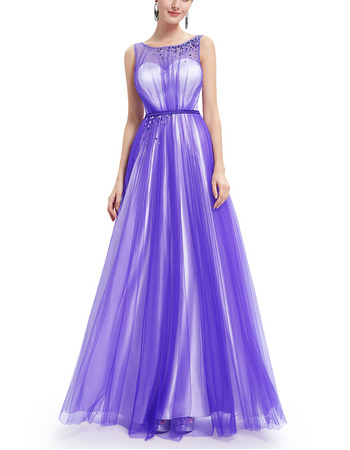 2018 New Style Sleeveless Floor Length Satin Tulle Evening Dresses