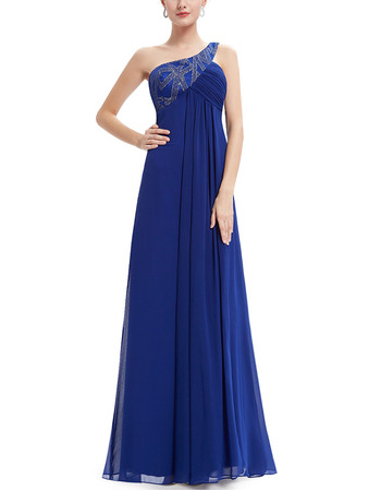 Custom Empire One Shoulder Floor Length Chiffon Evening Dresses