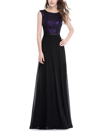 Inexpensive Sleeveless Floor Length Chiffon Lace Evening Dresses