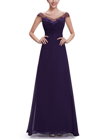 2018 New Style A-Line V-Neck Floor Length Chiffon Evening Dresses