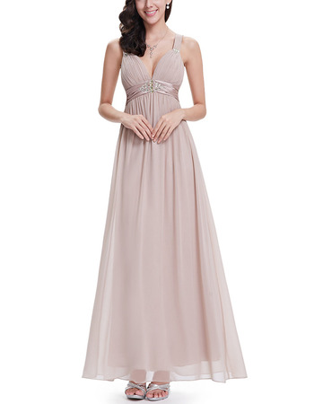 Affordable Sweetheart Long Chiffon Evening Dresses with Straps