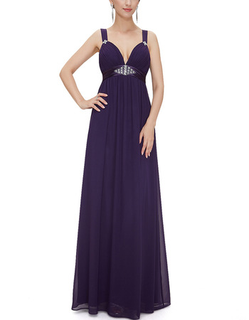 Sexy Sweetheart Floor Length Chiffon Evening Dresses with Straps