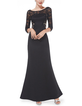 2017 New Satin Lace Black Evening Dresses with 3/4 Long Sleeves