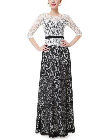 Custom Long Lace Two-Piece Evening Dresses with 3/4 Long Sleeves