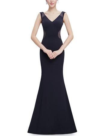 Discount Sheath V-Neck Sleeveless Floor Length Satin Evening Dresses